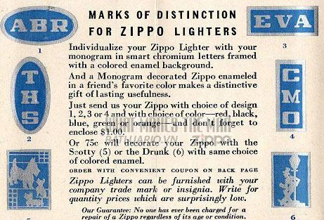 Tờ rơi quảng cáo về chữ viết tắt trên Zippo năm 1936 1