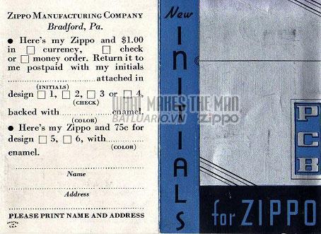 Tờ rơi quảng cáo về chữ viết tắt trên Zippo năm 1936 2