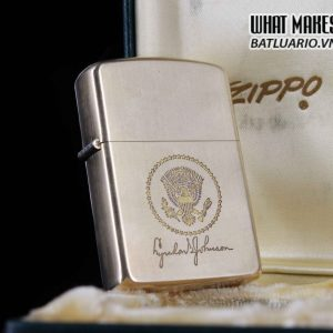 HIẾM – ZIPPO XƯA 1960S – 10K GOLD FILLED – LYNDON B JOHNSON