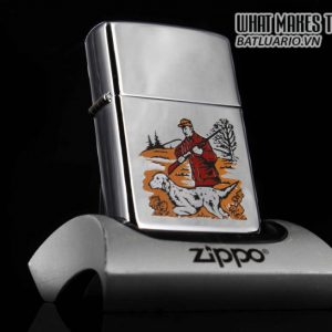 ZIPPO XƯA 1981 – HUNTER WITH DOG GUN – SPORT SERIES