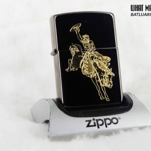 HIẾM – ZIPPO 2003 – SOLID COPPER – COWBOY RIDING HORSE