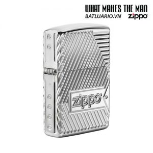 Zippo 29672 - Zippo Armor Multicut Bolts and Flame High Polish Chrome