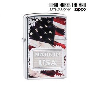 Zippo 29679 - Zippo Made in USA with Flag High Polish Chrome