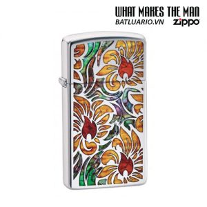 Zippo 29702 - Zippo Slim Fusion Floral Pattern High Polish Chrome