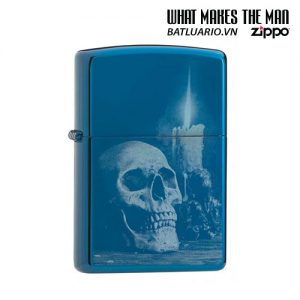 Zippo 29704 - Zippo Skull and Candle High Polish Blue