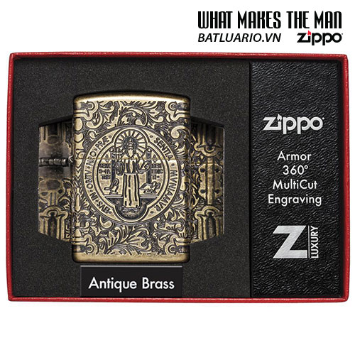 Zippo 29719 - Zippo St. Benedict Design 360 Multicut Antique Brass Armor 3