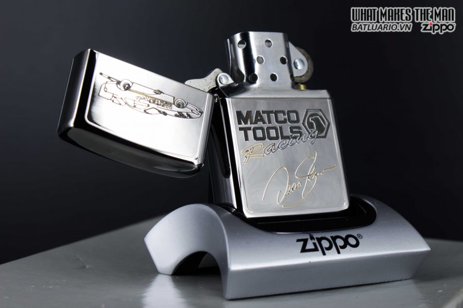 GIFT SET – ZIPPO LA MÃ 1995 – SILVER PLATE – MATCO TOOLS RACING 12