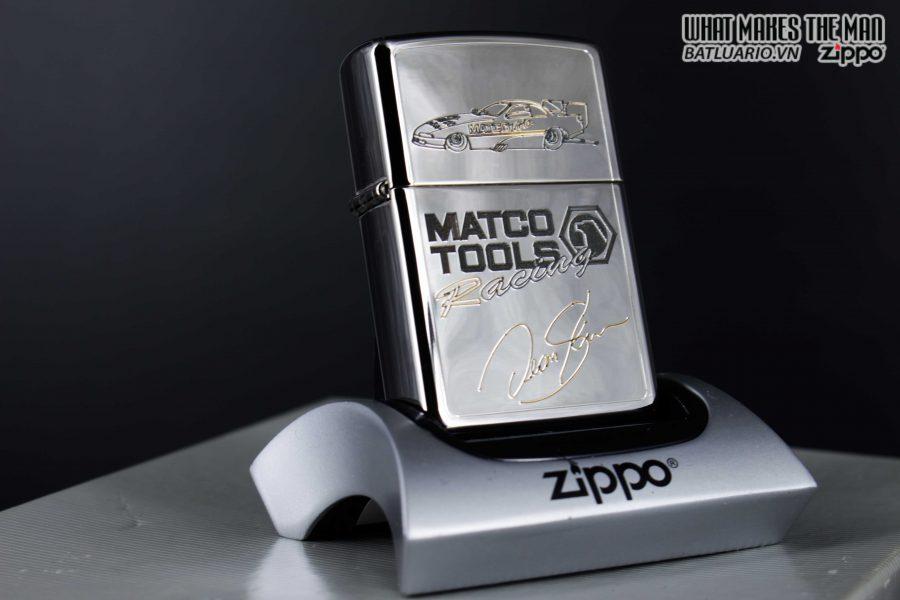 GIFT SET – ZIPPO LA MÃ 1995 – SILVER PLATE – MATCO TOOLS RACING 13