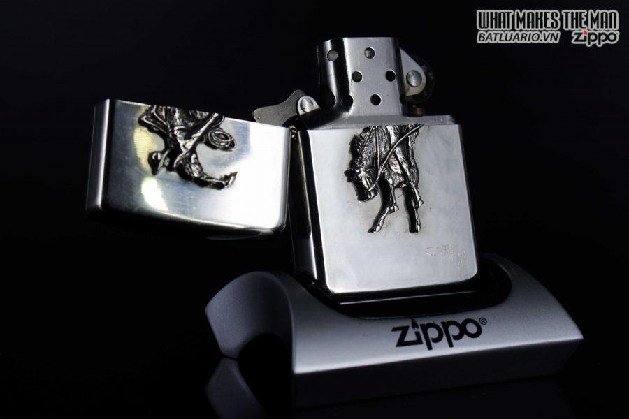 HIẾM - ZIPPO LA MÃ 1990 - RODEO MARLBORO - STERLING SILVER - LIMITED / 3000 9