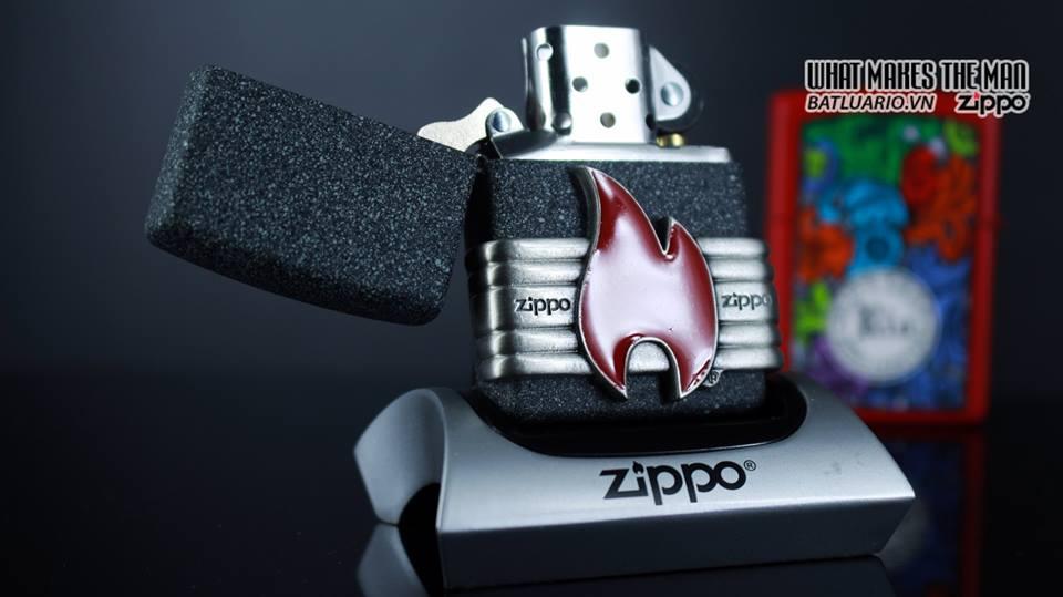 Zippo 29663 - Zippo Vintage Red Flame Wrap Iron Stone 10