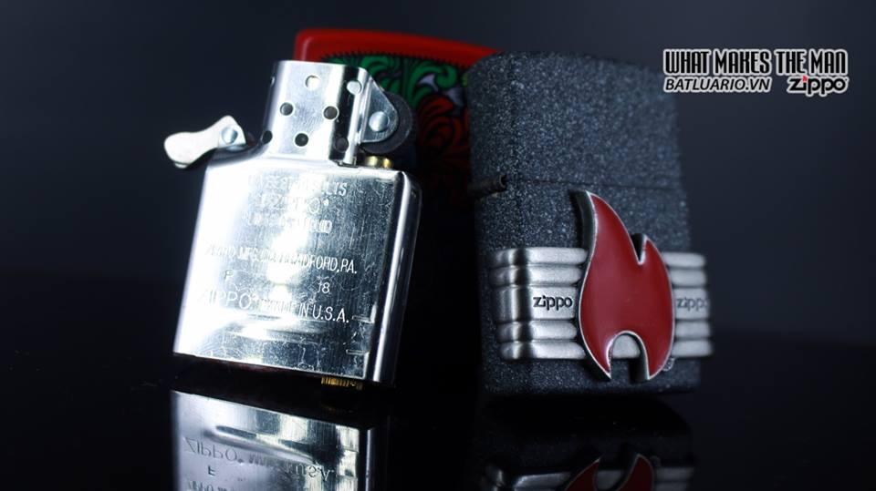 Zippo 29663 - Zippo Vintage Red Flame Wrap Iron Stone 14
