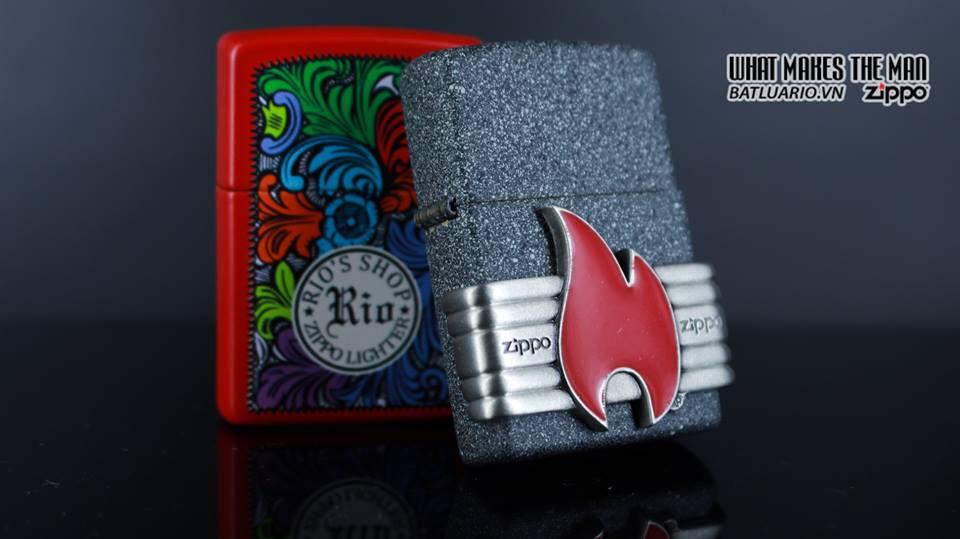 Zippo 29663 - Zippo Vintage Red Flame Wrap Iron Stone 15