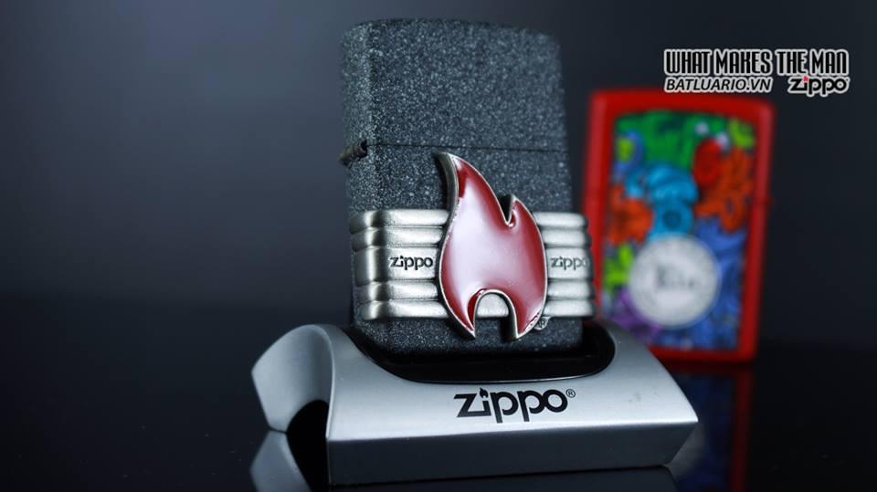 Zippo 29663 - Zippo Vintage Red Flame Wrap Iron Stone 9