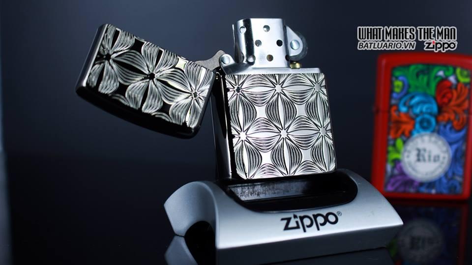 Zippo 29665 - Zippo Armor Flower Pattern Black Ice 9