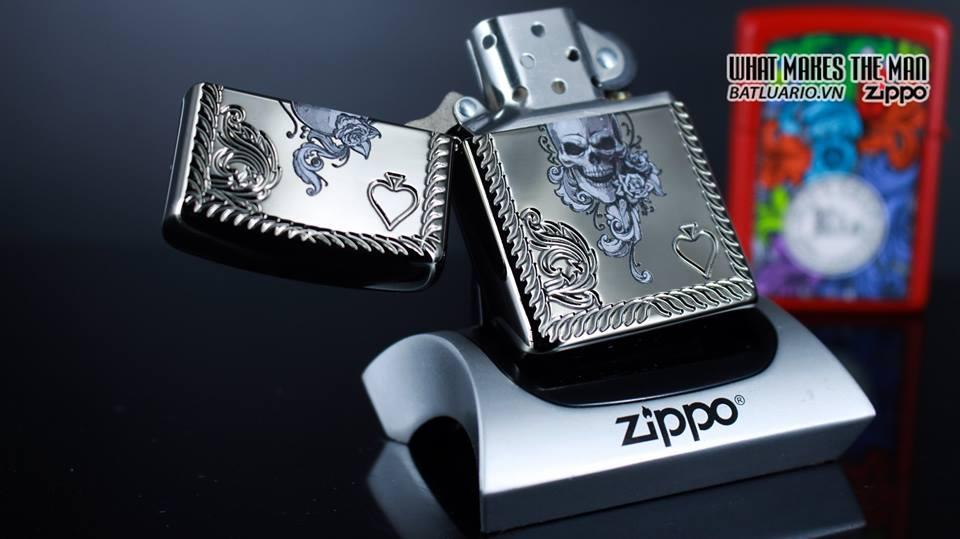 Zippo 29666 - Zippo Armor Skull and Spades Black Ice 10
