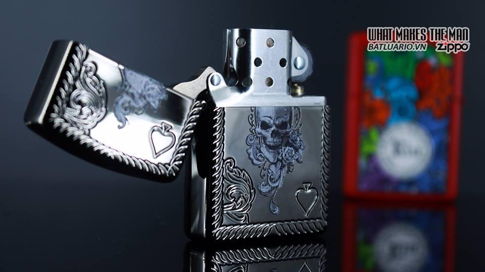 Zippo 29666 - Zippo Armor Skull and Spades Black Ice 13