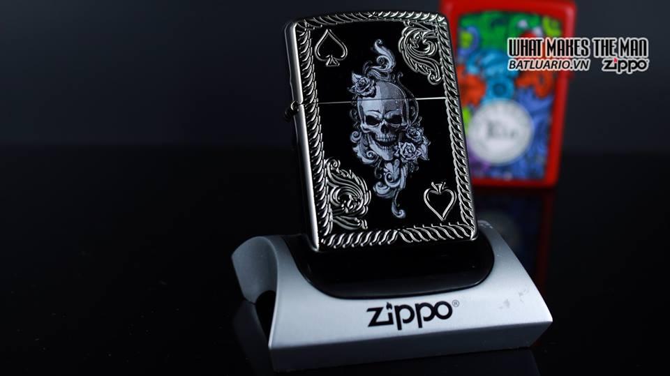 Zippo 29666 - Zippo Armor Skull and Spades Black Ice 8