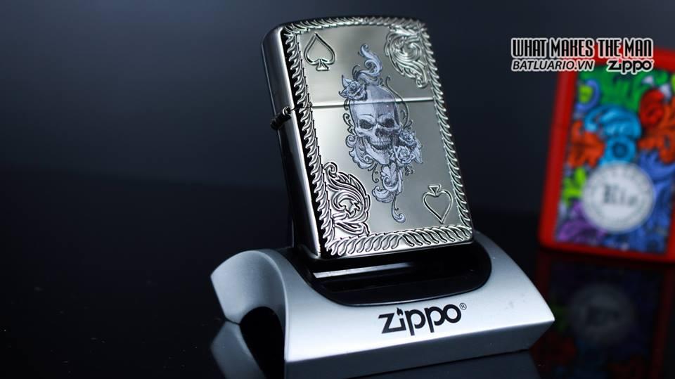 Zippo 29666 - Zippo Armor Skull and Spades Black Ice 9