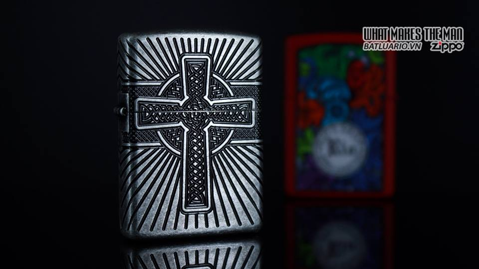 Zippo 29667 - Zippo Armor Multicut Celtic Cross and Knot Antique Silver 10
