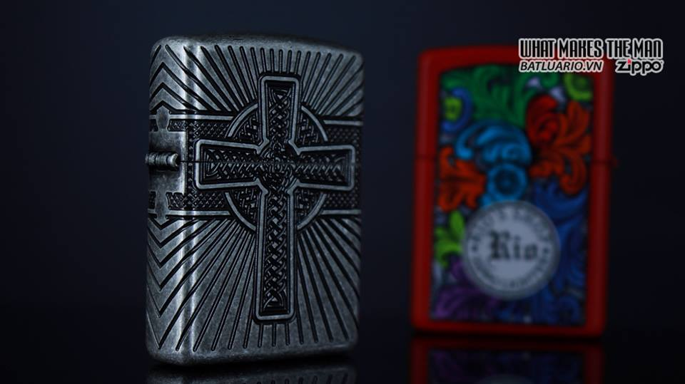 Zippo 29667 - Zippo Armor Multicut Celtic Cross and Knot Antique Silver 14