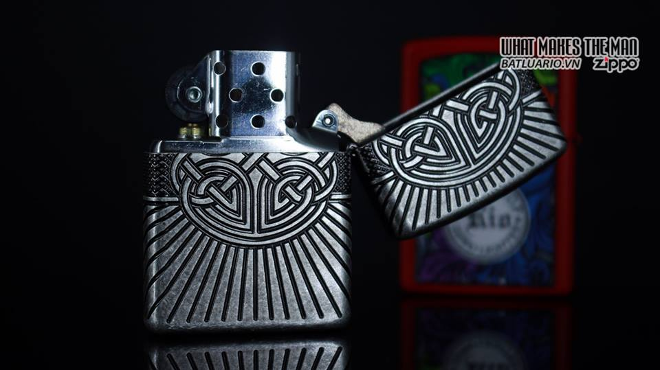 Zippo 29667 - Zippo Armor Multicut Celtic Cross and Knot Antique Silver 19