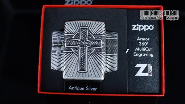 Zippo 29667 - Zippo Armor Multicut Celtic Cross and Knot Antique Silver 9