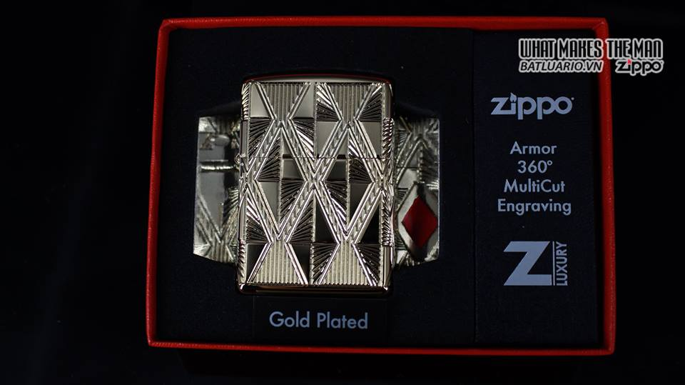 Zippo 29671 - Zippo Luxury Diamond Design High Polish Gold Plate 10