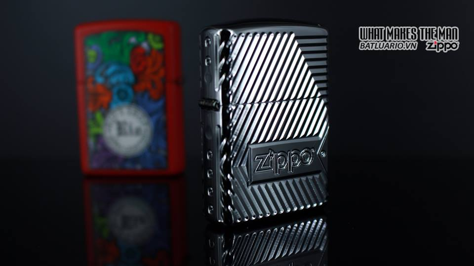 Zippo 29672 - Zippo Armor Multicut Bolts and Flame High Polish Chrome 8