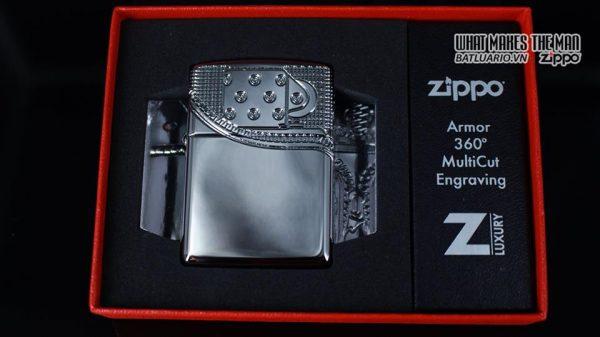 Zippo 29674 - Zippo Armor Multicut Insert Zipper High Polish Chrome 10