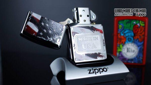 Zippo 29679 - Zippo Made in USA with Flag High Polish Chrome 10