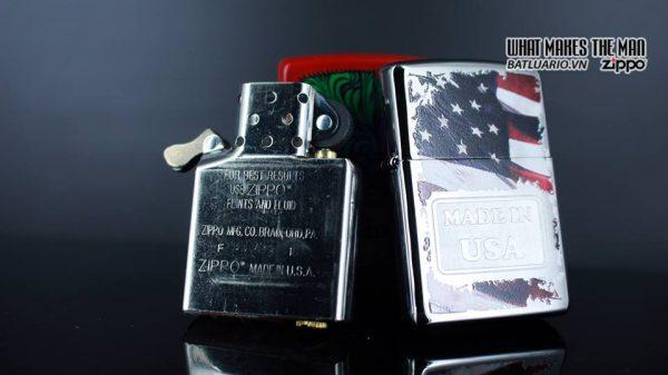 Zippo 29679 - Zippo Made in USA with Flag High Polish Chrome 13
