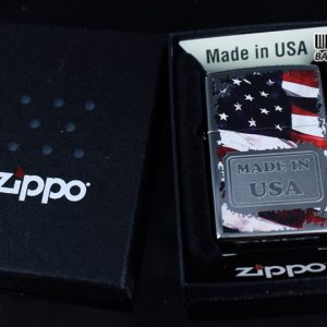 Zippo 29679 - Zippo Made in USA with Flag High Polish Chrome 7