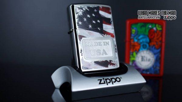 Zippo 29679 - Zippo Made in USA with Flag High Polish Chrome 9