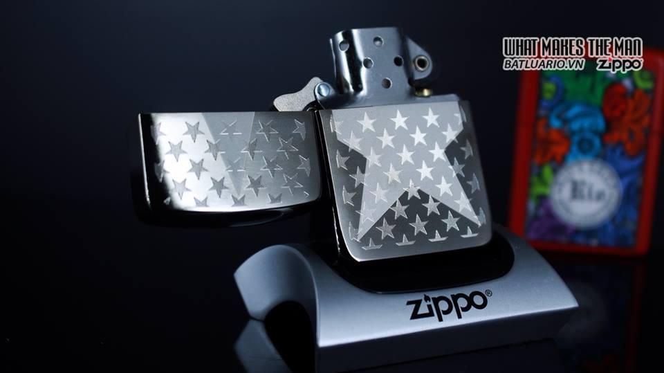 Zippo 29680 - Zippo Stars Replica Engraved Stars Black Ice 10