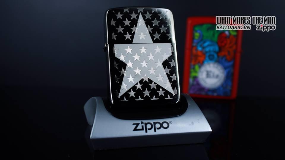 Zippo 29680 - Zippo Stars Replica Engraved Stars Black Ice 8