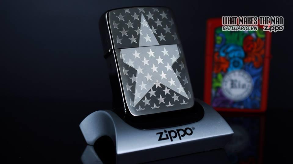 Zippo 29680 - Zippo Stars Replica Engraved Stars Black Ice 9