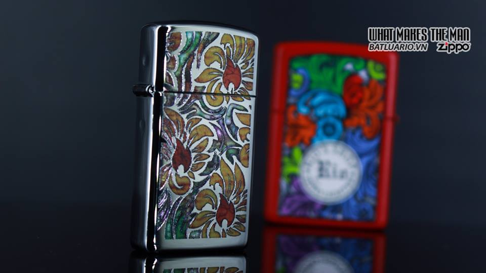 Zippo 29702 - Zippo Slim Fusion Floral Pattern High Polish Chrome 7