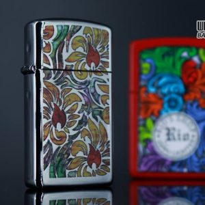 Zippo 29702 - Zippo Slim Fusion Floral Pattern High Polish Chrome 8