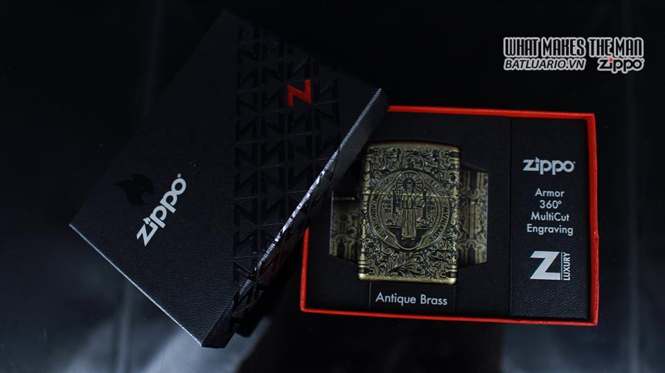Zippo 29719 - Zippo St. Benedict Design 360 Multicut Antique Brass Armor 12