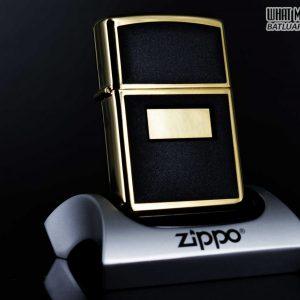 ZIPPO LA MÃ 1996 – ZIPPO ULTRALITE BLACK – GOLD PLATE