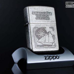 ZIPPO LA MÃ 1998 – ANTIQUE SILVER – MẠ BẠC GIẢ CỔ – AMERICA'S CUP