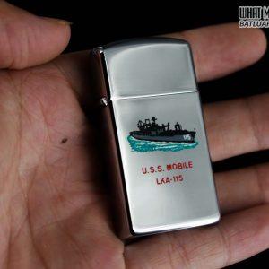 ZIPPO SLIM XƯA 1969 – USS MOBILE LKA 115