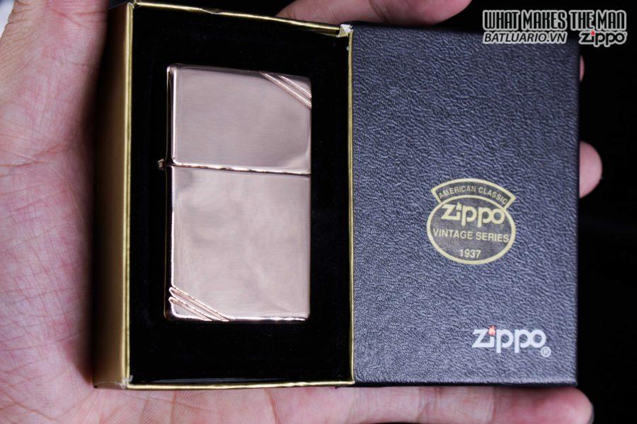 ZIPPO LA MÃ 1997 – REPLICA 1937 – MẠ VÀNG HỒNG – ROSE GOLD