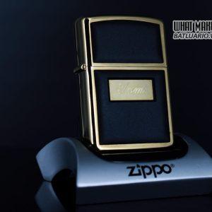 ZIPPO LA MÃ 1988 – ZIPPO ULTRALITE BLACK – GOLD PLATE – TOM