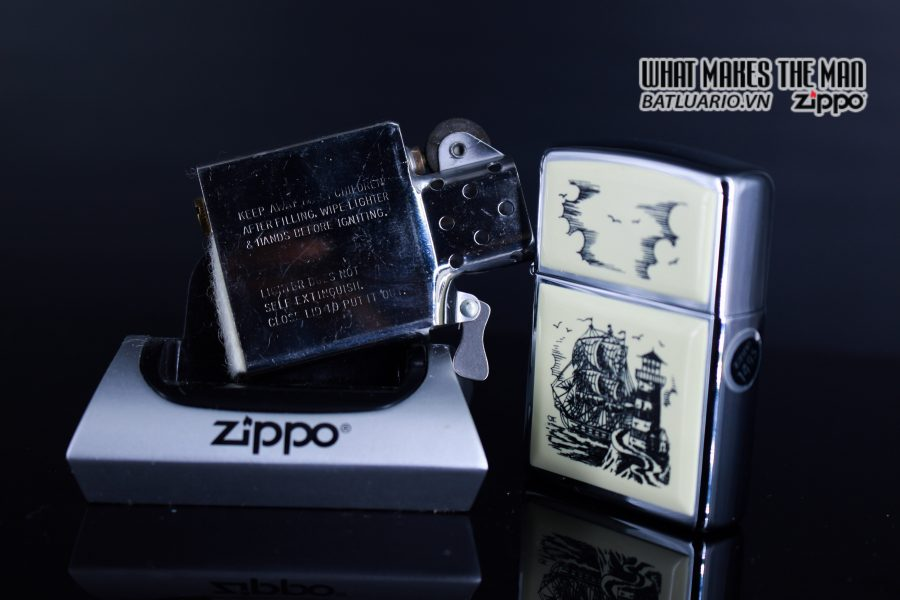 ZIPPO LA MÃ 1990 – SCRIMSHAW SHIP 2