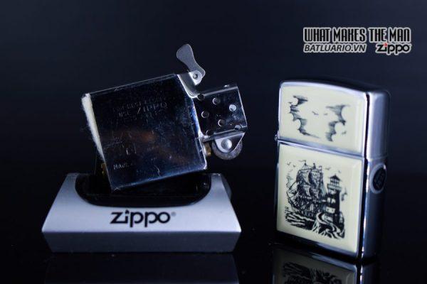 ZIPPO LA MÃ 1990 – SCRIMSHAW SHIP 3