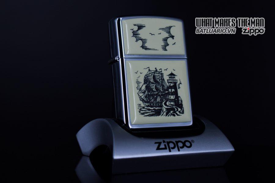 ZIPPO LA MÃ 1990 – SCRIMSHAW SHIP