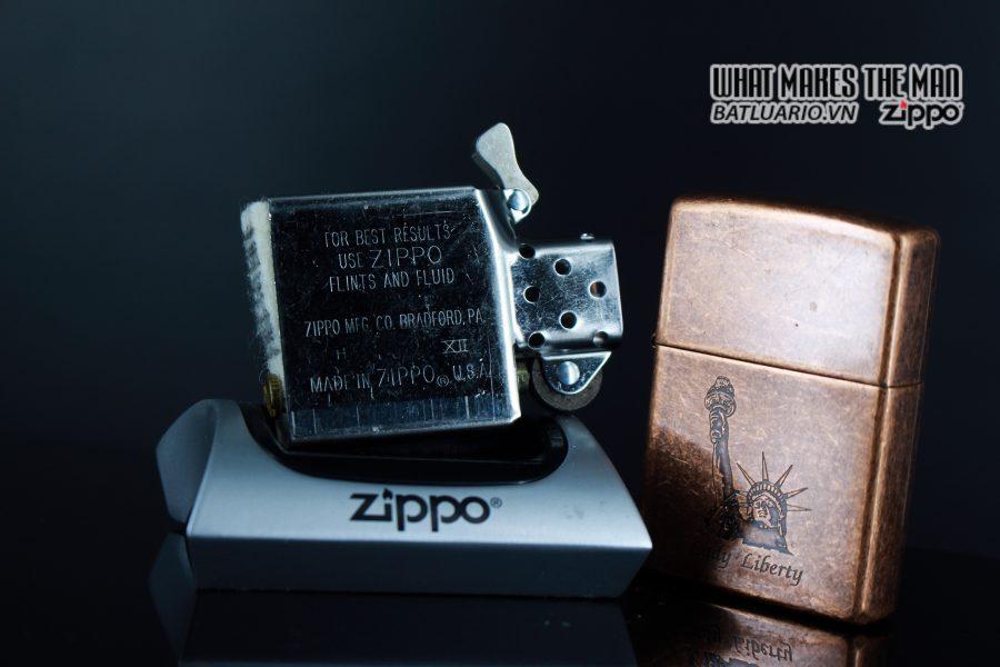ZIPPO LA MÃ 1996 – ANTIQUE COPPER – LIBERTY 3