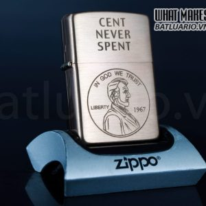 ZIPPO 2003 – SOLID COPPER – CENT NEVER SPENT