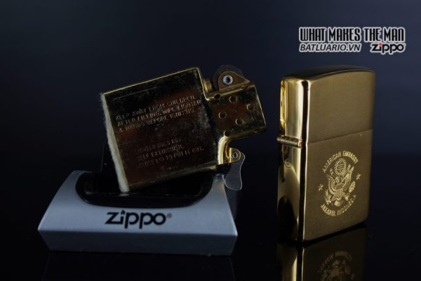 ZIPPO LA MÃ 1989 – GOLD PLATE – AMERICAN EMBASSY JAKARTA INDONESIA 2
